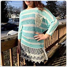 Listing! Crochet Lace Striped Sweater NEW! Adorable sweater! Light to mid weight. Available in several sizes. Please ask!! NWOT Only worn to model. Boutique Sweaters Crew & Scoop Necks