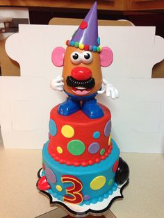 "Mr. Potato Head birthday cake. 6""&8"" rounds. Buttercream with fondant accents"