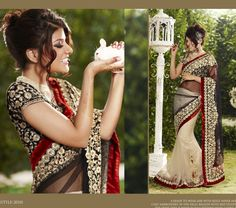 Beautiful Designer saree crafted with sophistication for Bridal, Wedding and Party occasion. Gorgeous Designs with sober colors and work will enhance your beauty. This is Beige and Black Net Ready to wear Saree with Blouse. Its has Chic embroidery in Pallu region with Red Velvet border, embroidered with resham thread with hand work of pearl and swarovski and stones.
