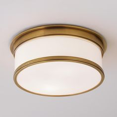 Round Metal Trimmed Flushmount Ceiliing Light