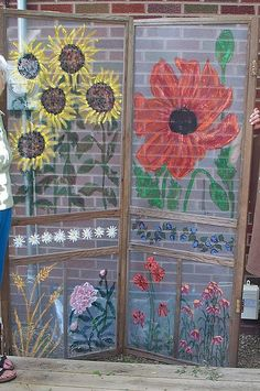painted screen doors - porch privacy screen.  Use fly screen material or shade cloth and keep simple with one colour and more pattern than illustration.