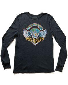 "Chaser ""Van Halen"" Heather Charcoal Graphic Long Sleeve Thermal Tee"