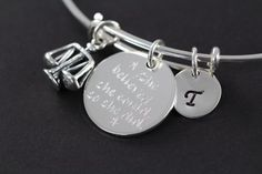 Personalized Graduation Gifts and Jewelry by Shiny Little Blessings on Etsy.  ★ This scales of justice bangle is created with the highest quality sterling silver, NEVER plated! Best bet for all skin types and those with metal sensitivities. Your best choice for lasting quality. ★  This graduation gift for a new lawyer, attorney or judge comes gift wrapped and with a message card for convenient and loving gift giving (see last picture for packaging)!! Let me know during check-out if you would…