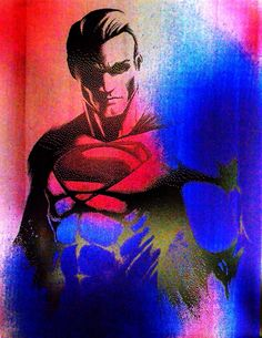 """Superman Metal Painting Man of Steel Justice League DC Comics Art. An 8.5"""" x 11"""" painting created by spray painting sheet metal with various colors, then burning an image into that paint with a laser engraver. Each painting is unique."""