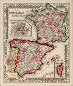 Map of France, Spain and Portugal [Inset Map of Corsica] - Barry Lawrence Ruderman Antique Maps Inc.