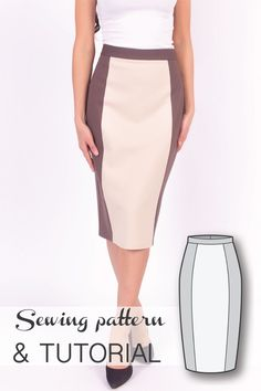 Color Blocked High Waist Pencil Skirt Sewing Pattern and Sewing Tutorial