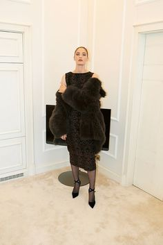 Azzedine Alaïa dress and coat, Manolo Blahnik pumps Celine, Balenciaga, Fendi, Alaia Dress, Valentino, Saint Laurent, Azzedine Alaia, Fall Winter, Autumn