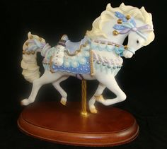Carousel Statues:  1998 Lenox Snowman Snowflakes Christmas Winter Carousel Horse