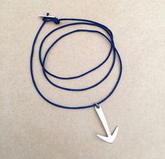 Men's Silver Plated Arrow Charm Pendant Adjustable Cord