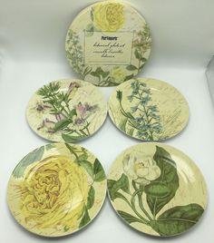 Pier 1 Import Botanical Stoneware Salad Dessert Plate Set of 4 Floral Dishes NEW #Pier1Imports