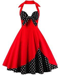ZAFUL Robe Vintage années 1950 's Style Audrey Hepburn Rockabilly Swing Sans  manches Robe Rétro