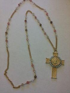 Collar largo chapa de oro y cruz