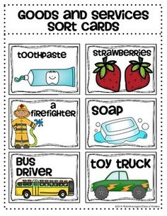 Goods and Services {Economics} Sort Cards for Kindergarten