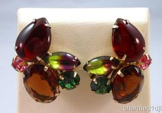 Vtg Chunky Rhinestone Cluster Clip Earrings Juliana Multi-Color Gold Tone…