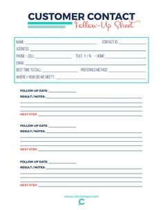 Customer Contact Follow up Sheet Craft Business, Business Tips, Online Business, Small Business Bookkeeping, Small Business Organization, Event Planning Business, Sales Tips, Cleaning Business, Business Management