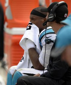 Carolina Panthers quarterback Cam Newton (1) wipes his face while on the bench late in the game against the Minnesota Vikings at Bank of America Stadium on Sunday, September 25, 2016. The Vikings won, 22-10.