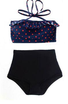 Navy Blue with Red Polka Dot Midkini Top and Black Bottom Two-piece Bikini Bikinis Swimsuit Swimwear Swimming Bathing suit dress wear S M L