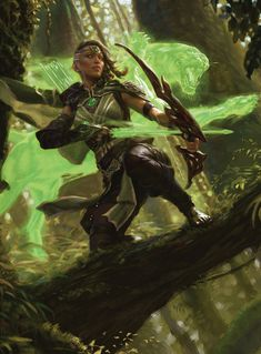 'Vivien, Arkbow Ranger' by Yongjae Choi Card art from the 'Core Set expansion set, released July 2019 by Magic: The Gathering Dnd Characters, Fantasy Characters, Female Characters, Archer Characters, Medieval Fantasy, Sci Fi Fantasy, Fantasy Women, Fantasy Inspiration, Character Inspiration
