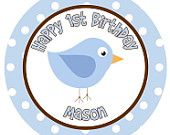 Iron on Transfer DIY - Blue and Brown Bird Birdie - Boys 1st Birthday Party - Custom Personalized Name for First Birthday - Mason