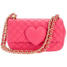 MOSCHINO CHEAP & CHIC quilted chain bag ($565) ❤ liked on Polyvore featuring bags, handbags, shoulder bags, purses, borse, bolsas, moschino, women, red quilted handbag and pink purse
