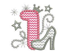 Happy Bithday numero 1 rosa Glamour per ragazza di EmbroideryLand