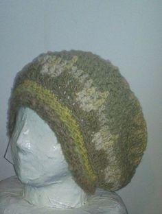 hobo crochet hippy hat hand spun 100% wool natural dye free shipping iskapie  #iskapie #hobo