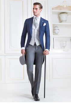 Beautiful man in beautiful wedding suits for Italian label Sartoria Rossi Mens Fashion Suits, Mens Suits, Wedding Morning Suits, Wedding Tux, Blue Wedding Suits, Wedding Groom Attire, Blue Tuxedo Wedding, Wedding Suit Styles, Wedding Ideas
