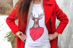 """and * Un cappotto rosso ed un cervo """"Romantic Deer"""" Deer Illustration, Fashion Blogger Style, Romantic, Street Style, T Shirts For Women, Animal, Clothing, Red, Outfits"""