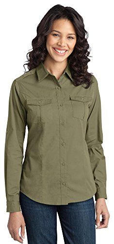 Port Authority Ladies Stain-Resistant Roll Sleeve Twill Shirt, Vintage Khaki, X-Small ** See this great product @ http://www.amazon.com/gp/product/B014W12LZE/?tag=clothing8888-20&pmn=270716130523