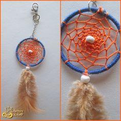 Porta-Chaves em tons de azul e laranja *