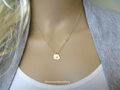 Sideways Infinity and Two Initial Necklace  by FemmartJewelry