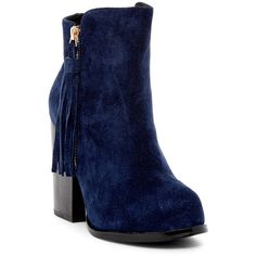 Catherine Catherine Malandrino Shayae Fringe Detail Boot ($113) ❤ liked on Polyvore featuring shoes, boots, ankle booties, ankle boots, navy, round toe ankle boots, side zip boots, short boots and block heel booties