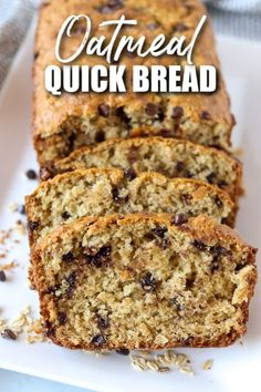 Oatmeal Quick Bread filled with chocolate chips takes less than an hour to whip up. You don't need a mixer or yeast for this easy and delicious sweet bread.   www.persnicketyplates.com Oatmeal Bread Recipe, Baked Oatmeal Recipes, Oatmeal Cake, Bread Maker Recipes, Quick Bread Recipes, Baking Recipes, Cake Recipes, Chocolate Chip Bread, Chocolate Chip Oatmeal