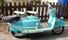 1961 NSU Prima V. looks like an American car from the Beautiful scooter. Who says scooters are geeky? Mod Scooter, Lambretta Scooter, Scooter Girl, Vespa Scooters, Classic Vespa, Classic Motorcycle, Folding Campers, New Honda, Motor Scooters