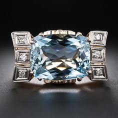 estate jewelry Retro Aquamarine and Diamond Ring