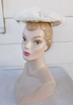 1950s Vintage White Puffy Netted Saucer Hat by MyVintageHatShop
