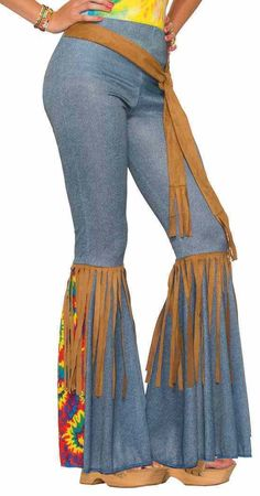 Hippie Pants Bell Bottoms 60's Fancy Dress Up Halloween Adult Costume Accessory | eBay