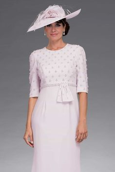 This beautiful short dress has unique embellishments along the bodice of the dress that synchs in at the waist with a bow detail. The skirt kicks out at the knee for an elegant look. Occasion Dresses, Day Dresses, Short Sleeve Dresses, Dresses With Sleeves, Bride Dresses, Occasion Wear, Mother Of Groom Outfits, Mother Of The Bride, Mothers Dresses