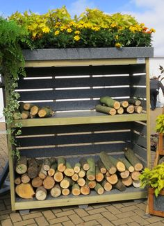 Log Store and green roof for herbs? Lumber Storage, Firewood Storage, Outdoor Shelves, Log Store, Living Roofs, Wood Shed, Front Rooms, Wood Burner, Facade Design