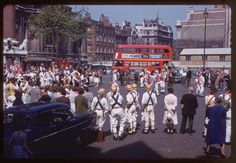 Morris dancing in front of Westminster Abbey.13th May 1961