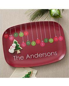 Personalized Christmas Platter - Christmas Ornaments Melamine Dish