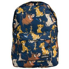 Loungefly Disney Lion King Printed Backpack ($44) ❤ liked on Polyvore featuring bags, backpacks, lion backpack, blue backpack, rucksack bag, blue bag and knapsack bags