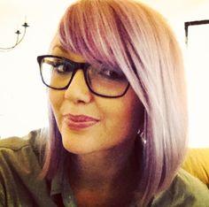 Lavender hair, ray bans, purple