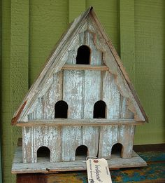 Shabby Chic Reclaimed Vintage Blue Chippy Paint Garden Birdhouse.