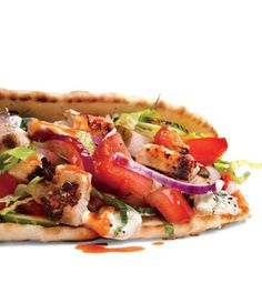 Grilled Chicken Shawarma from Men's Health magazine. I used chicken breast and it worked great. We also can't grill at our apt, so I pan fried, but it was still great. Healthy food AND my husband loved it! Good Food, Yummy Food, Tasty, Lean Meals, Cooking Recipes, Healthy Recipes, Fun Recipes, Recipies, Middle Eastern Recipes
