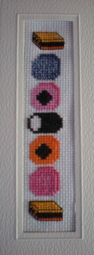 Counted Cross Stitch Bookmark Kit Liquorice Allsorts Sweets Great Gift!