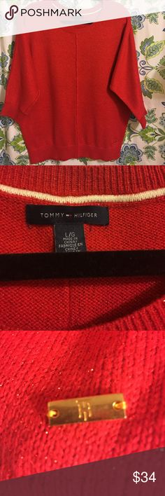 TOMMY HILFIGER  Size L. NWOT Gorgeous Red V-Neck NWOT, Machine Wash , Tommy Hilfiger Sweaters V-Necks