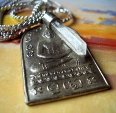 Buddha Necklace Silver Metal Buddhist Amulet by spanishangels, $29.50