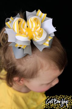 Yellow and grey over the top hair bow by CaliBowShop on Etsy, $9.00