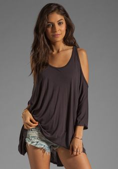 Michael Lauren Morris Oversized Open Shoulder Top in Coal $74